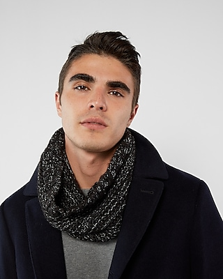 Express Mens Textured Marled Snood Black 12493005