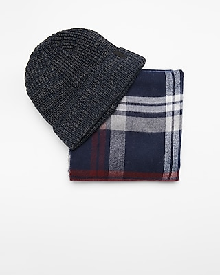 Express Mens Plaid Scarf And Beanie Set