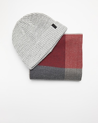 Express Mens Gray Plaid Scarf And Beanie Set