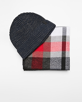 Express Mens Red And Gray Plaid Scarf And Beanie Set