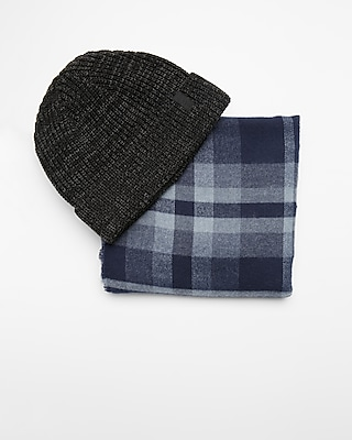 Express Mens Blue And Gray Plaid Scarf And Beanie Set