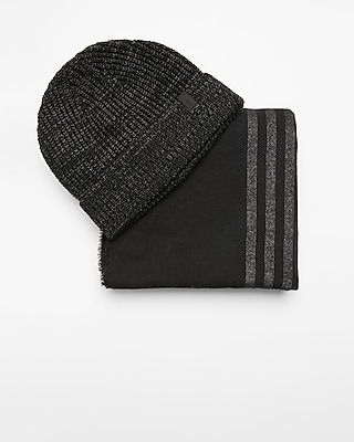 Express Mens Gray And Black Stripe Scarf And Beanie Set 06004823