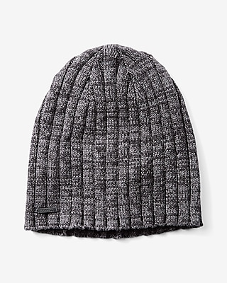 Express Mens Neutral Ribbed Beanie Black 12347780
