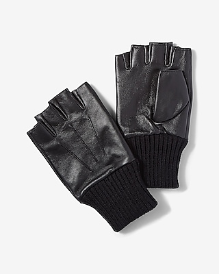 Express Mens Fingerless Leather Gloves