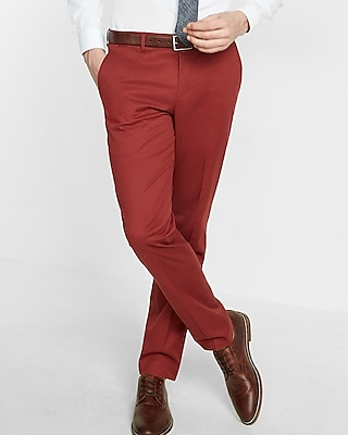 Express Mens Slim Red Stretch Cotton Dress Pant