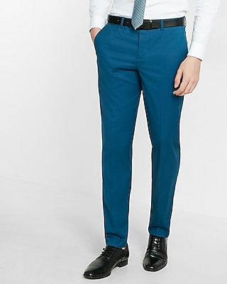 Express Mens Slim Blue Stretch Cotton Dress Pant