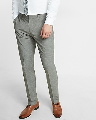 Express Mens Slim Green Slub Dress Pant
