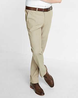 Express Mens Slim Chambray Khaki Dress Pant
