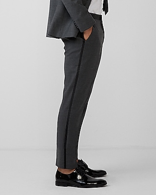 Express Mens Slim Gray Flannel Wool-Blend Tuxedo Pant