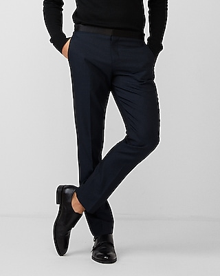 Express Mens Slim Navy Wool-Blend Dobby Tuxedo Pant
