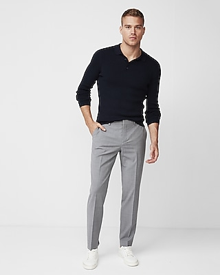 Express Mens Slim Gray Houndstooth Dress Pant