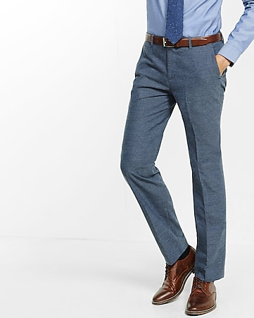 slim photographer textured blue dress pant
