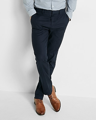 Express Mens Classic Navy Oxford Stretch Cotton Dress Pant