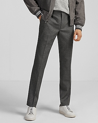 Men's Extra Slim Innovator Gray Print Dress Pant