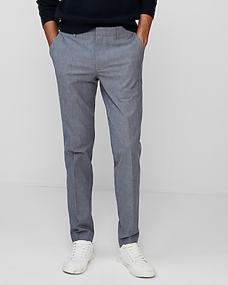 Extra Slim Light Blue Chambray Stretch Dress Pant