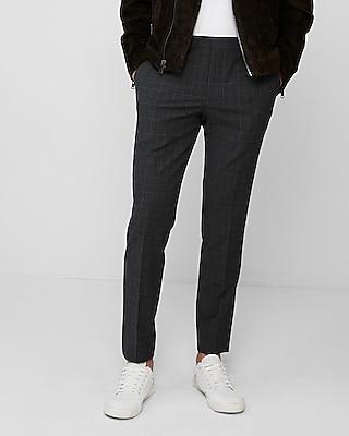 Extra Slim Dark Gray Plaid Dress Pant