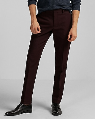 Express Mens Extra Slim Burgundy Dress Pant