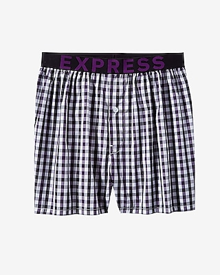 Express Mens Solid Check Woven Boxer