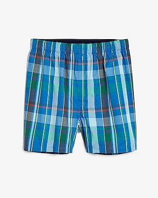 Express Mens Plaid Covered Waistband Woven Boxers
