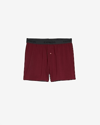 Express Mens Solid Burgundy Supersoft Boxers