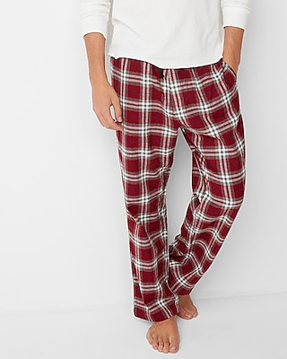 Express Mens Red Plaid Cotton Flannel Lounge Pant