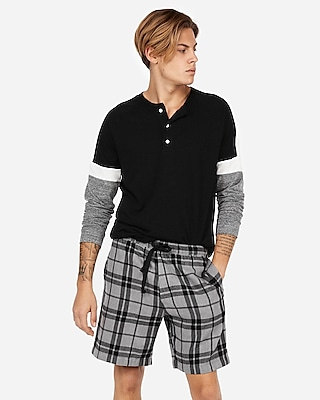 Express Mens Double Brushed Plaid Flannel Lounge Shorts