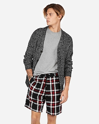 Express Mens Express Weekend Double Brushed Plaid Flannel Shorts