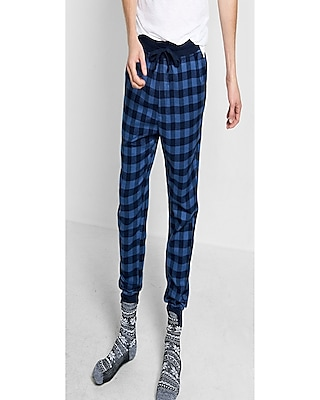 Express Mens Flannel Jogger Pant Blue Small