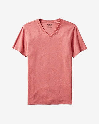 Express Mens Heathered Flex Stretch Cotton V-Neck Tee Red X Small
