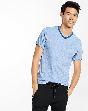 space dyed slub knit stretch v-neck tee