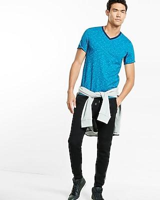 Express Mens Space Dyed Slub Knit Flex Stretch V-Neck Tee