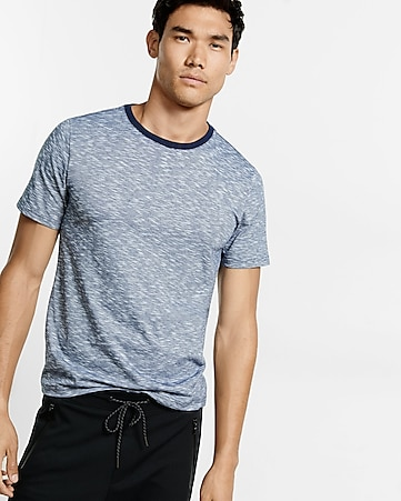 space dyed slub knit stretch crew neck tee