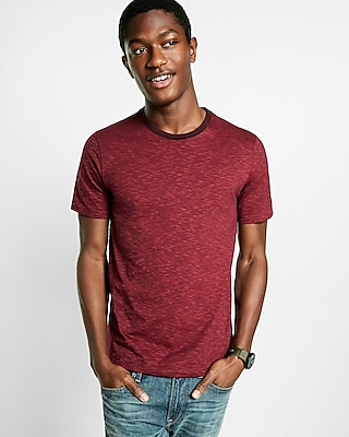 Express Mens Space Dyed Slub Knit Flex Stretch Crew Neck Tee Red Small
