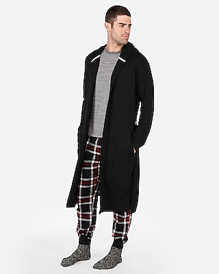 Express Mens Double Layer Vintage Fleece Hooded Robe