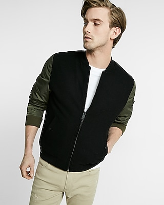 Express Mens Contrast Sleeve Wool Blend Bomber Jacket