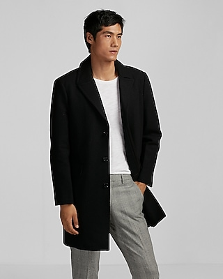 Express Mens Black Recycled Wool Topcoat