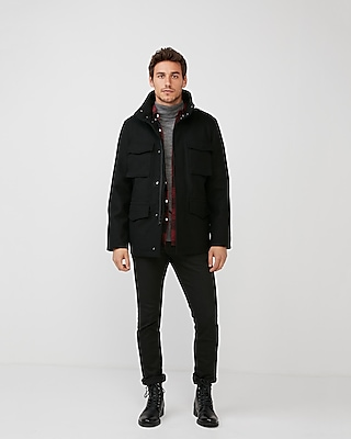 Express Mens Four Pocket Convertible Recycled Wool Coat