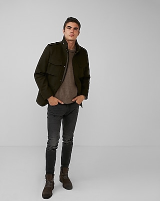 Express Mens Four Pocket Convertible Recycled Wool Coat Green X Small