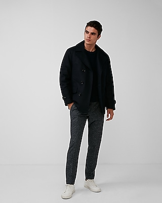 Express Mens Wool Water-Resistant Quilt Lined Peacoat