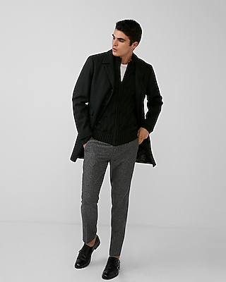 Express Mens Black Wool-Blend Topcoat
