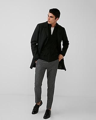 Express Mens Black Wool-Blend Topcoat