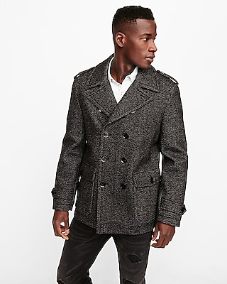 Express Mens Grey Recycled Wool Water-Resistant Peacoat