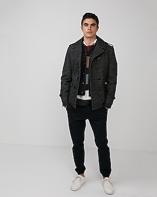 Express Mens Textured Peacoat