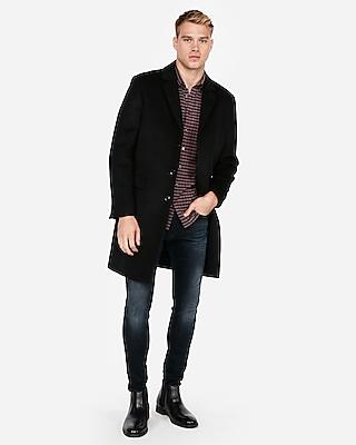 Express Mens Black Wool-Blend Water-Resistant Topcoat
