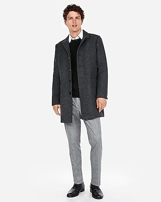 Express Mens Textured Wool-Blend Twill Topcoat