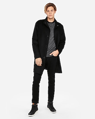 Express Mens Recycled Wool Stand Collar Topcoat
