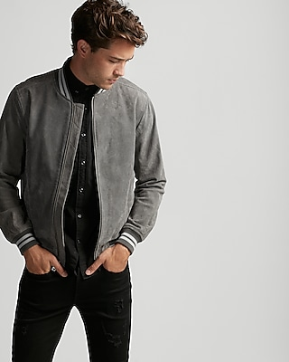 Express Mens Suede Color Block Bomber Jacket