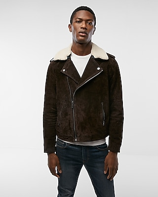 Express Mens Genuine Suede Sherpa Moto Jacket