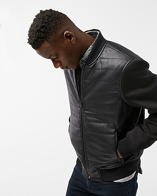 Express Mens (Minus The) Leather Contrast Sleeve Puffer Jacket