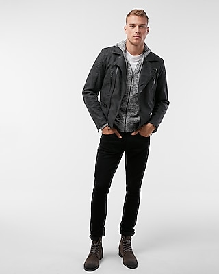 Express Mens Faux Suede Asymmetrical Jacket